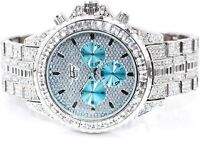 Men Fully Iced Watch Bling Rapper Simulate Diamond Metal Band Luxury Silver Blue