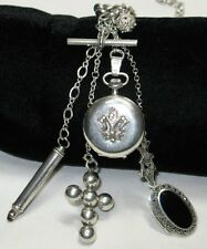 Antique Sterling Watch Chain Necklace,5 Silver Fobs,Watch Case,Locket,Victorian