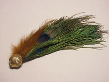 Unique Handcrafted Peacock Feather Hat Pin, Brooch Shell Gold Toned Accent Pin