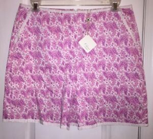 NWT $120 Clover by Bobby Jones Golf Skirt Skort Paisley Pink Ladies Women's 12