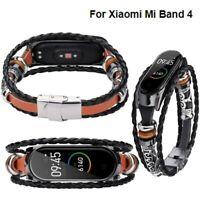 Für xiaomi mi band 4 ersatz leder perlen armband strap weave geflochten