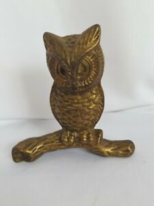 "Solid Brass Owl Ornament Vintage Bird On Wood Branch 5"" tall"