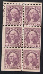 US. 720b. 3c. Washington. Booklet Pane of 6 w/Partial Pl#20900. MNH. 1932