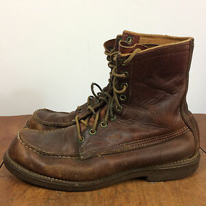 Vintage 50's Browning Distressed Leather Work Hiking Motorcycle Boots Shoes 9 D