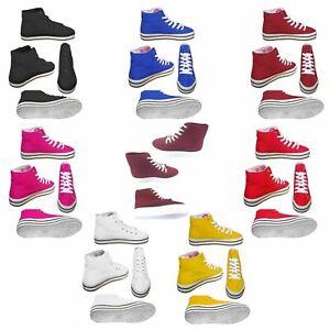 Men's & Women's Unisex Canvas Hi High Top Lace Up Sneakers Trainers Shoes UK 3-8
