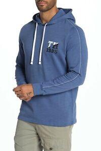 Tommy Hilfiger Sleepwear Men's Blue TH Logo Print Long Sleeve Pullover Hoodie