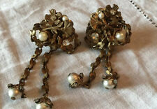 SIGNED MIRIAM HASKELL GILT FILIGREE DANGLE Earrings  with Small Pearls