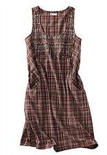 Karierte ärmellose knielange Damenkleider aus 100% Baumwolle