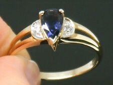 9CT Gold 9K Gold Iolite & White topaz Hallmarked ring size S