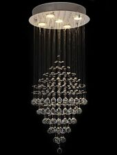 Crystal Glass Diamond Rain Drop 5-Light Ceiling Fixtures Chandelier