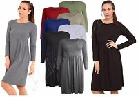 New Ladies Long Frankie Swing Flared Skater Dress Long Sleeve Midi Women Plus
