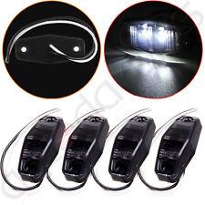 4X LED Light Smoke Cover Surface Mount Universal Side Marker Trailer White 12V