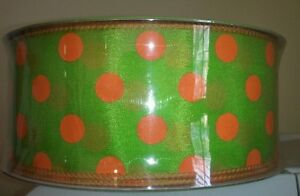 2 1/2 inch Lime Green with Orange dots wired  ribbon Weddings, crafts, Easter