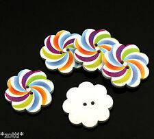 5 Knöpfe Spirale 37 mm bunt Holzknöpfe Knopf zwei Löcher Nähen Schmuck #