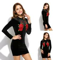 New Fashion Women Casual Stand Neck Long Sleeve Floral Embroidery Slim Dress