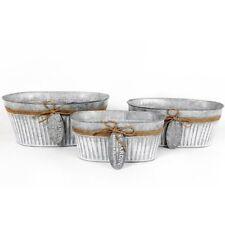 Vintage Rústico Ovalado Metal Cinc galvanizado macetas jardín Plantadores Jute &