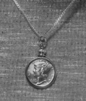 """Coin Pendant Silver VINTAGE MERCURY DIME Bezel Sterling Silver Plated 18"""" Chain"""