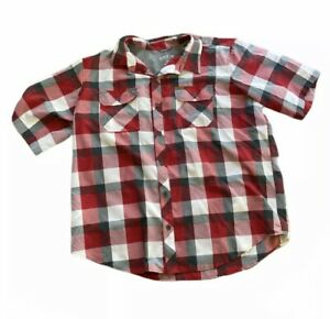 Orvis Short Sleeve Button Front Casual Shirt Size XXL Red Plaid button Down