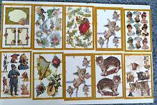 10 SHEETS MAMELELOK VINTAGE STYLE SCRAPS,CATS,LADIES,FLORAL ETC