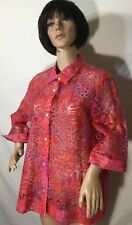 Beautiful Hearts Of Palm Red And Pink Sheer Floral Button Down Top Shirt Blouse