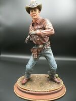 Western Cowboy with  Six Shooter Figure Sculpture Statue  Large Hand Painted New