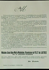 PELET DE LAUTREC Cacqueray Valmenier FAIRE PART Cacqueray Valmenier Courval 1908