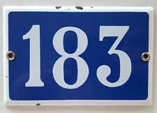 VINTAGE FRENCH HOUSE NUMBER SIGN door gate PLATE PLAQUE Enamel 183 Dark blue