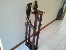 HIGH QUALITY HAND CRAFTED CARVED WOODEN CD HOLDER STAND WITH MAN FIGURE