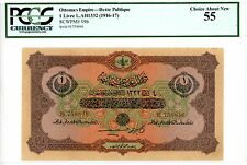 Turkey/Ottoman ... P-99b ... 1 Livre ... L.A.1332(1916-17) ... *AU-UNC*. PCGS 55