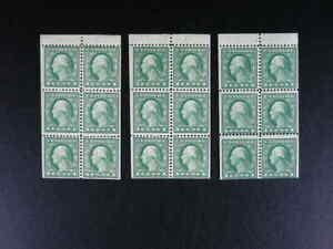 US Scott # 498e ONE Booklet Pane of 6 Washington 1c stamps 1917  MNH      s753