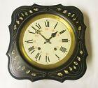 Antique French Napolean III  Bakers Clock w Morez Movement MOP Wood PARTS REPAIR
