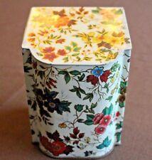 """Vintage English Floral Tea Tin w/Hinged Lid, 6"""" Tall"""