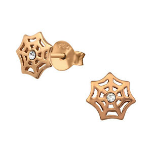 Crystal Spider web Rose gold plated sterling silver  Ear Studs