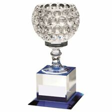CLEAR/BLUE GLASS GOBLET ON BLOCK BASE TROPHY - 9.25in