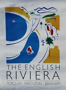 ORIGINAL Torquay English Riviera Tourist Office Teacup Poster. NOT REPRODUCTION.