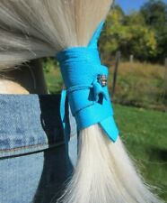Leather Ponytail Hair Wrap Holder Jewelry Cuff Tie Accessory Turquoise Blue Bead