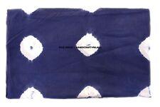 Indian Blue Shibori Fabric By The Yard Indigo Tie Dye Running Cotton Fabric