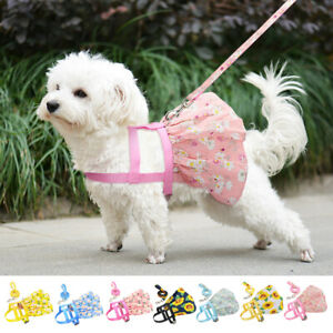 Cute Floral Printed Small Dog Dress Harness and Leash Set Puppy Girl Dog Dress