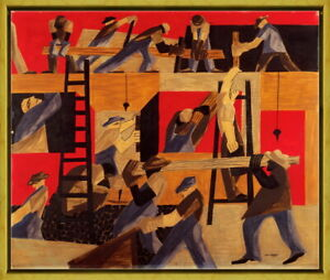 Framed Jacob Lawrence The Builders Giclee Canvas Print Paintings Poster