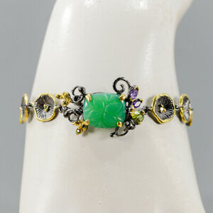 """One of a kind Chrysoprase Bracelet 925 Sterling Silver  Inches 7.5""""/BR05671"""