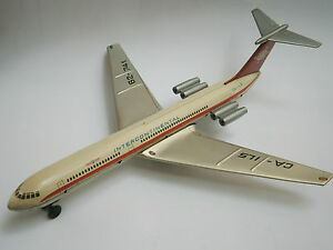 VINTAGE MECHANISM USSR TIN FRICTION TOY IL-62 AIRCRAFT AIRPLANE INTERCONTINENTAL