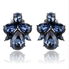 Hot Fashion Party Resin Drop Rhinestone Flower Statement Stud Earring