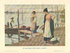 Italy, Lake Maggiore, Fashion Fans, Vintage 1904 German, Antique Art Print