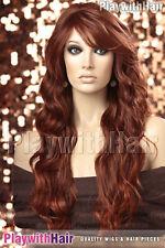 HOT Long Loose Wavy Ringlet Wig Heat Friendly Safe OK Auburn Red Tips