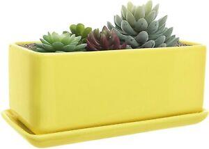 10 inch Rectangular Modern Minimalist Yellow Ceramic Succulent Planter Pot