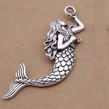 2pc Tibetan Silver Fish Mermaid Pendant Necklace Charms Jewelry Accessories P823