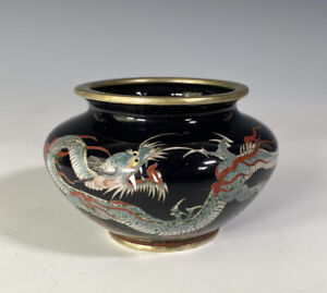 Fine Antique Japanese Silver Wire Cloisonne Dragon Vase With Mark