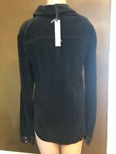 NWT by SANCTUARY Black LONG SLEEVE Corduroy Button Up Collared Shirt Size Small