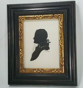 Vintage Silouette Art Drawing Professionally Framed Signed E.A. Jones Hand Drawn