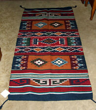 "Throw Rug Tapestry Southwest Western Hand Woven Wool 32x64"" Replica #398"